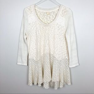 Anthropologie | Skirted Limay Pullover Ivory Large